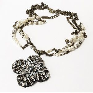 Chico's • Crystal and Pearl Cross Pendant Necklace